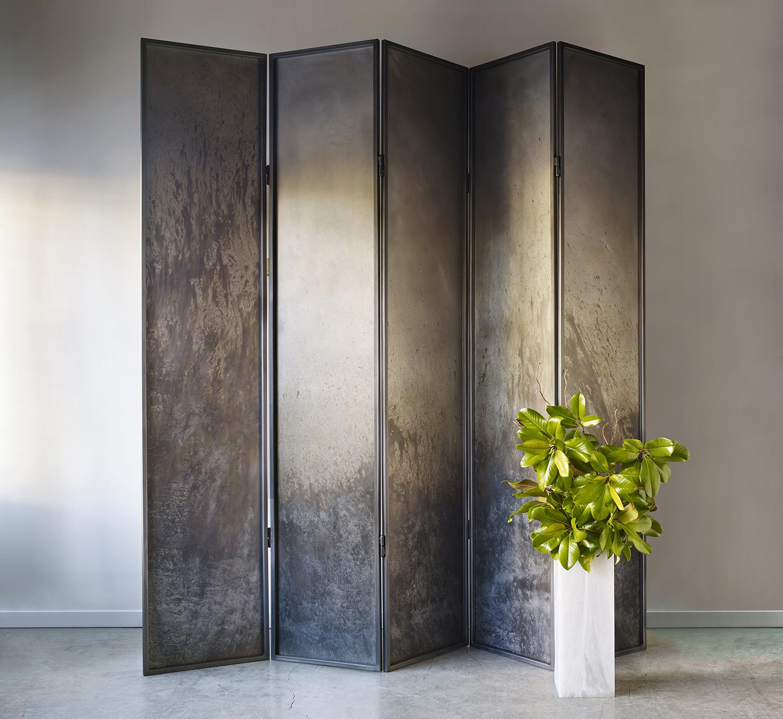 """Steel Art Screen (five panel), eachpanel 24"""" x 120"""""""