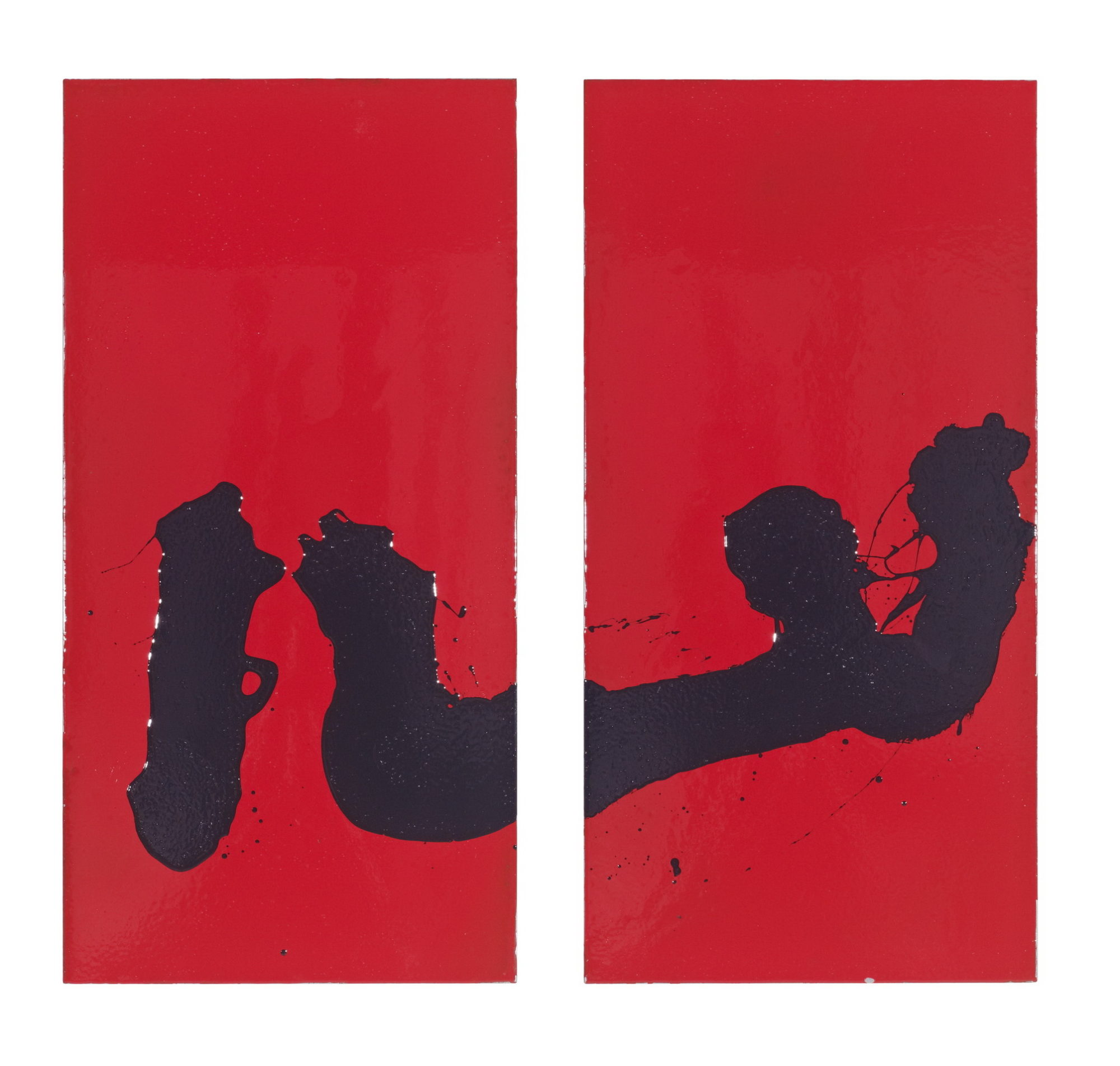 """Part of the Sumie Series  #393 Resin on Steel Diptych 48"""" x 48"""""""