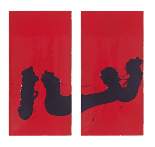 Red resin on steel diptych